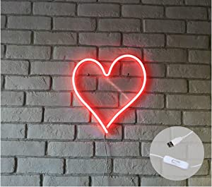 "Britrio LED Neon Light Sign, 13.4"" Heart Shape Wall Hanging Neon Sign Wall Art for Bar Bedroom Living Room Kid's Room Party,Home Decor Neon Night Light USB Powered with ON/Off Switch(Red Heart)"