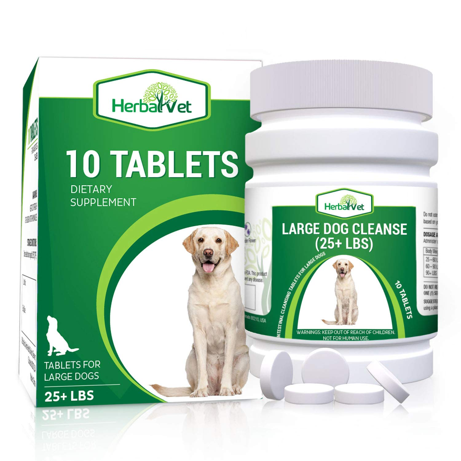 HerbalVet Natural Dog Dewormer Alternative for All Dogs | 10 Tablets, Works for Puppies, Intestine Cleanse| Helpful E-Book Included by HerbalVet