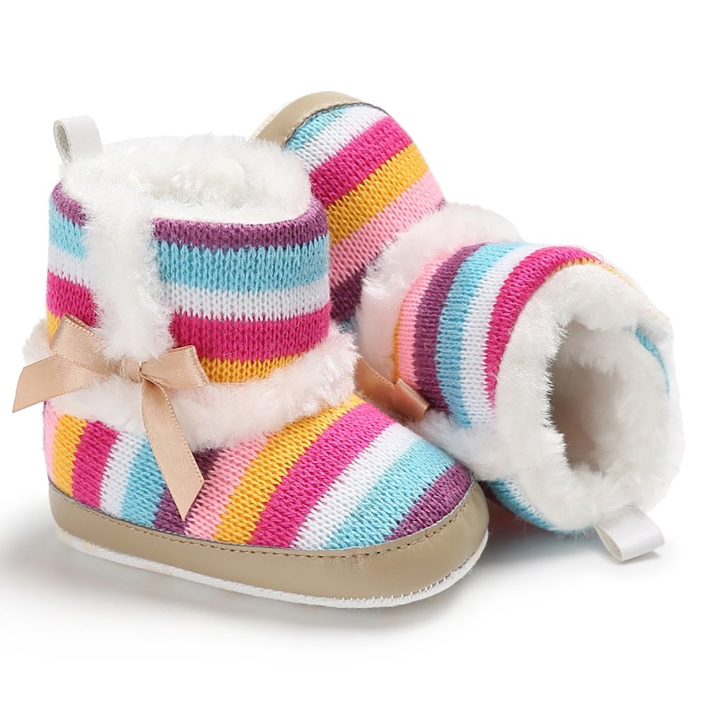 Meeshine Baby Girl Prewalker Cotton Knit with Bowknot Warm Winter Infant Boots Toddler Shoes 0-6 Month