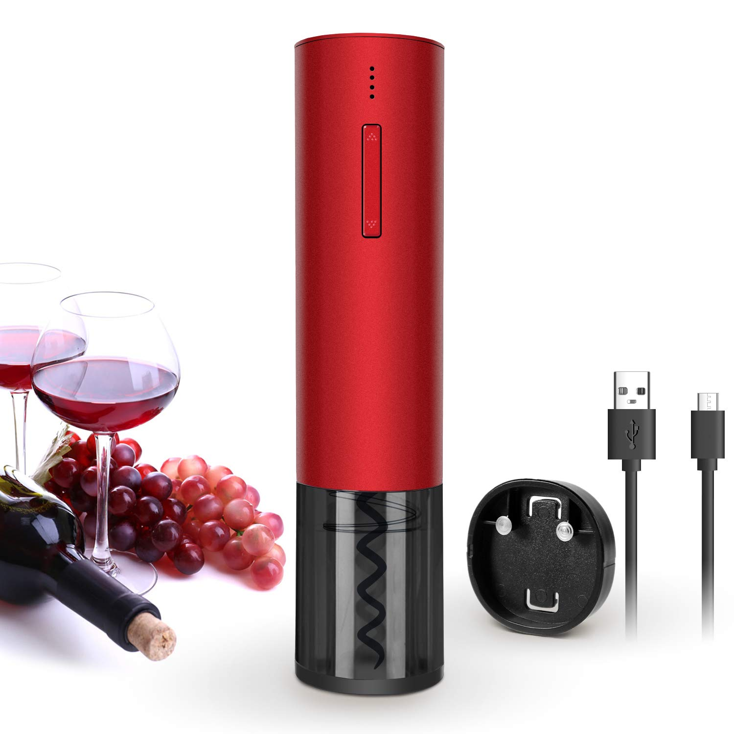 New Electric Wine Opener Rechargeable Automatic Corkscrew Wine Bottle Openers, Cordless Stainless Electric Corkscrew with Foil Cutter and USB Cable