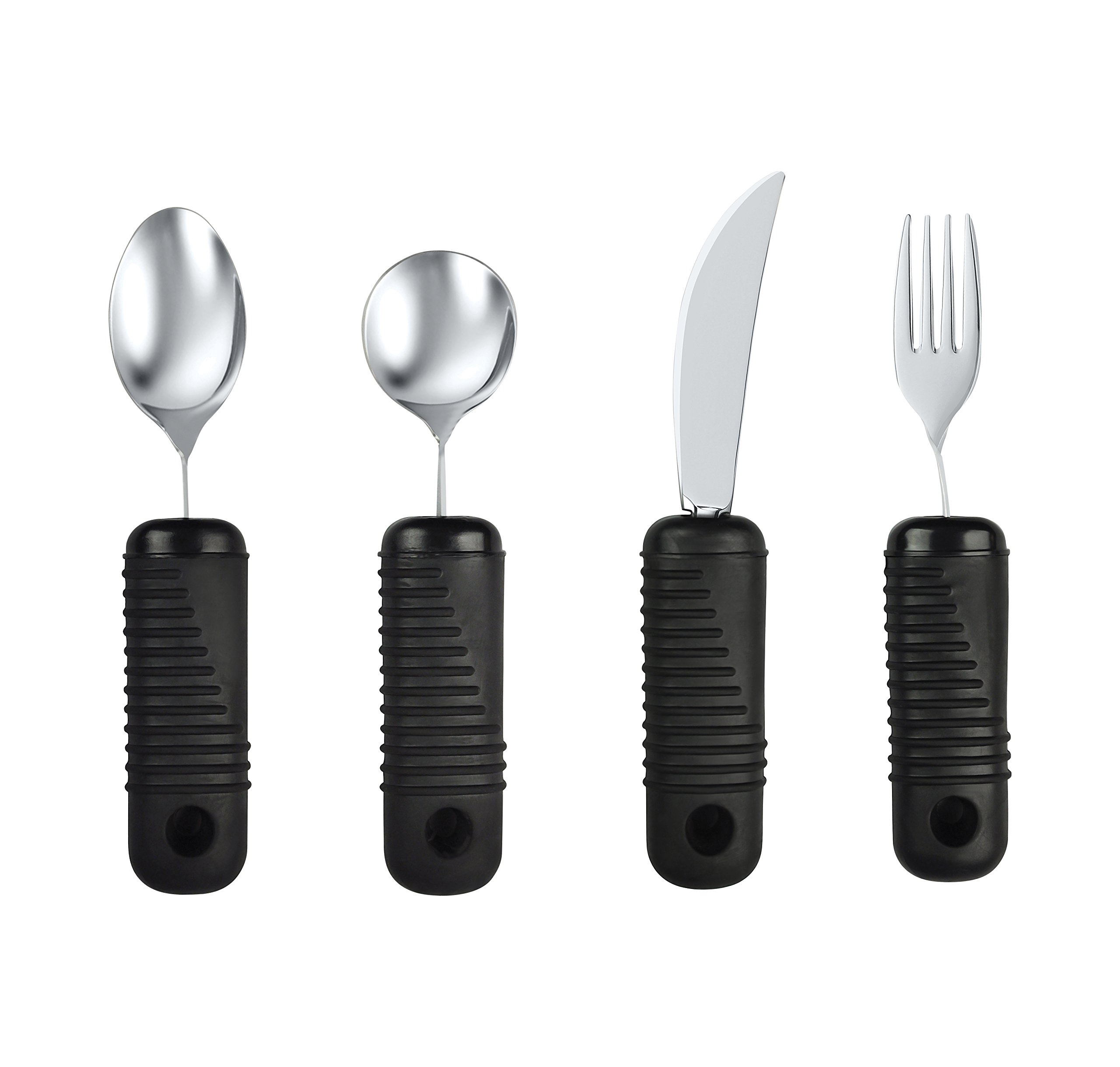 Blue Jay Make Eating Easier Big Grip Utensil Set - Arthritis Aid Silverware Set, 1.5in Ribbed Made with Ribbed Rubber Handles and Stainless Steel, for Weak Grip, Latex-Free, Eating AIDS