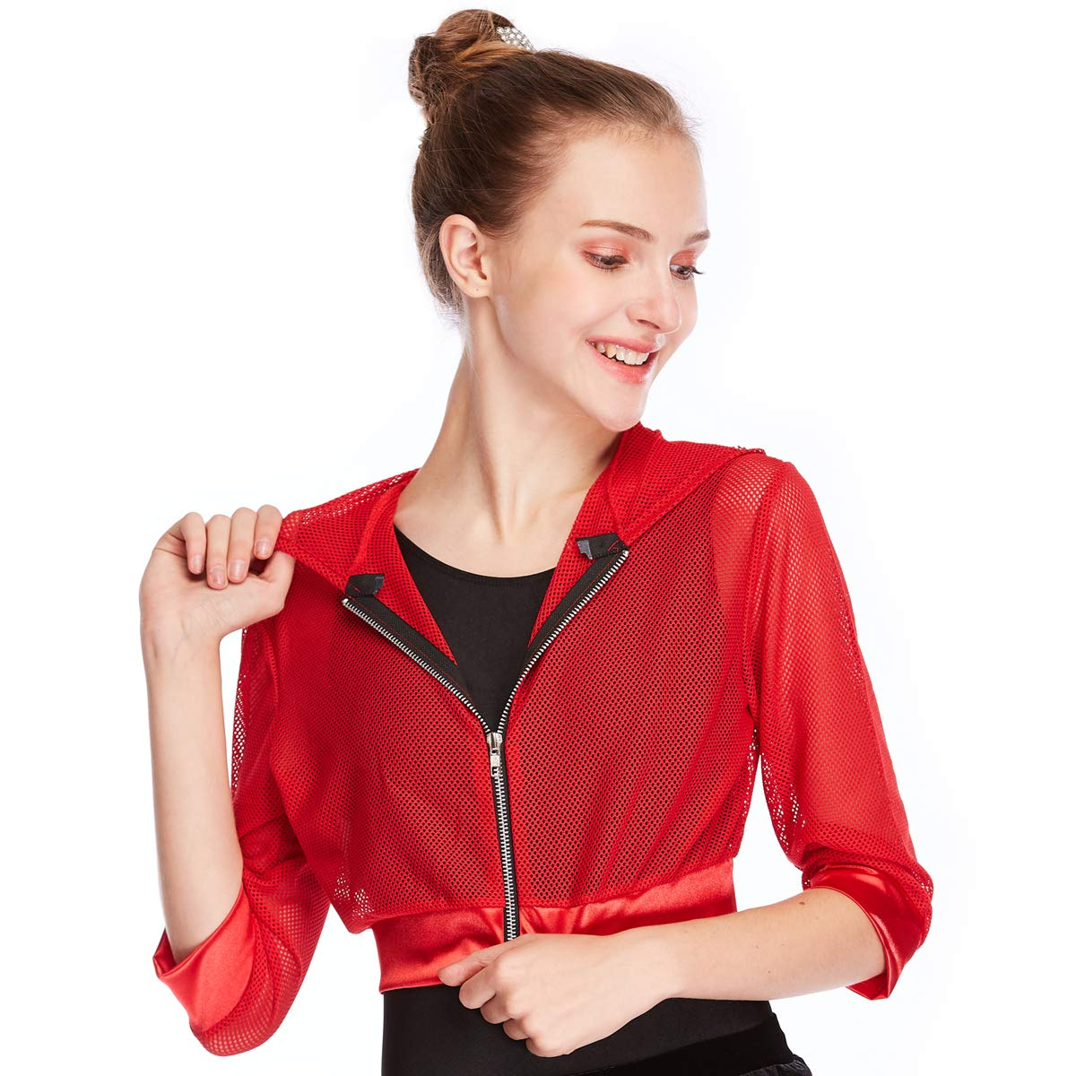 MiDee Three-Quarter Sleeves Hip Hop Hoodies Dance Jacket CC3028