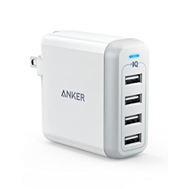 Anker 40W 4-Port USB Wall Charger with Foldable Plug, PowerPort 4 for iPhone XS / XS Max / XR / X / 8 / 7 / 6 / Plus, iPad Pro / Air 2 / Mini 4 / 3, Galaxy / Note / Edge, LG, Nexus, HTC, and More