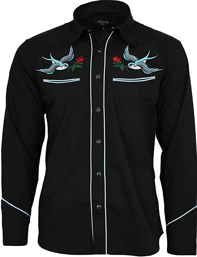 1950s Men's Clothing Relco Exclusive Tattoo Rockabilly Western Cowboy Swallow Rose Embroidered Shirt £39.99 AT vintagedancer.com