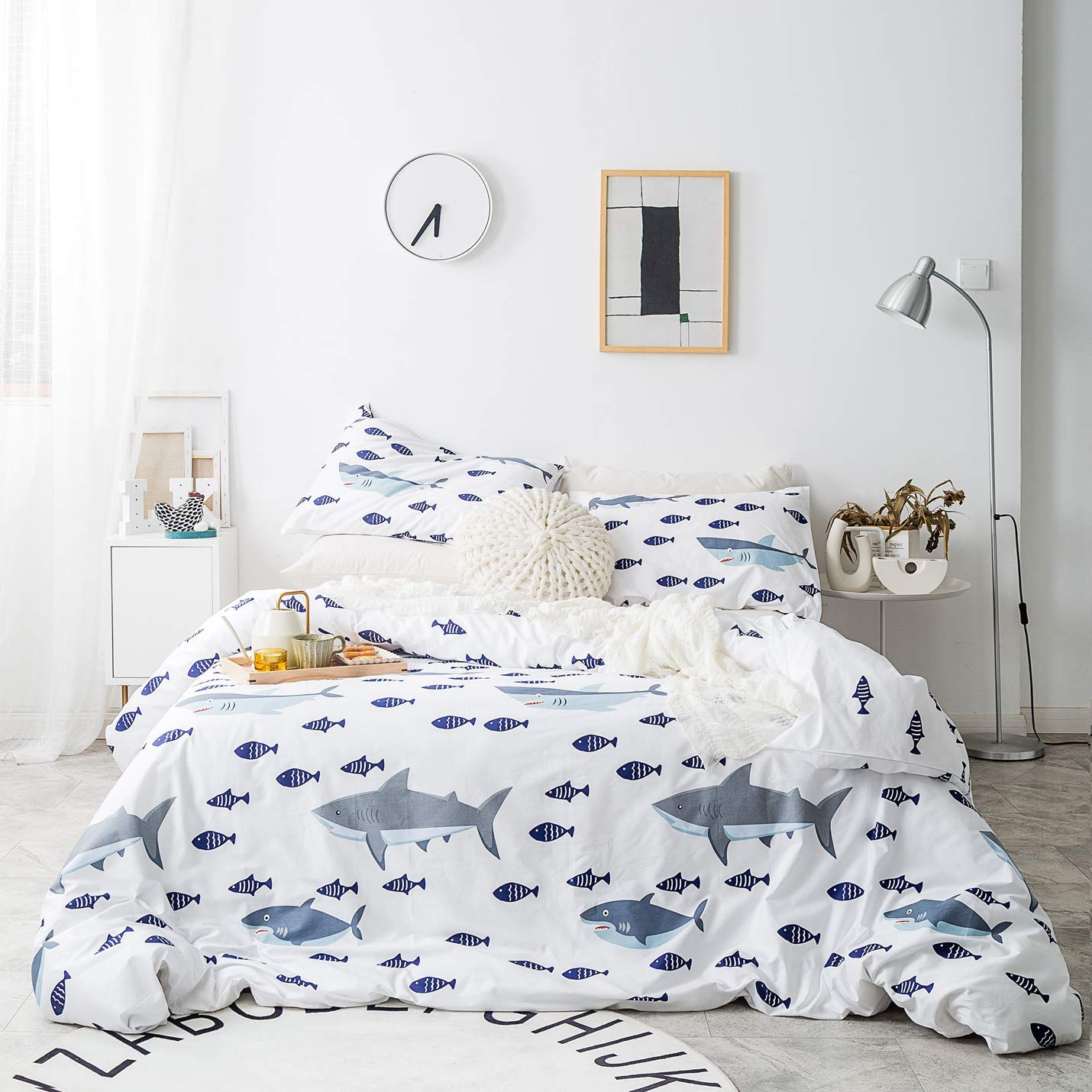 SUSYBAO 3 Pieces Duvet Cover Set 100% Natural Cotton White King Size Blue Gray Shark Bedding Set with Zipper Ties 1 Cartoon Fish Print Duvet Cover 2 Pillowcases Hotel Quality Soft Breathable Durable