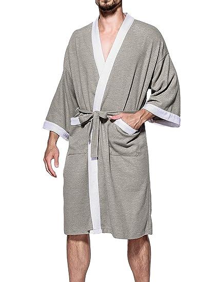 Cedodo Men s Turkish Cotton Bathrobe Waffle Kimono Terry Cloth Hotel Spa  Robes at Amazon Men s Clothing store  31c946bd2
