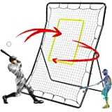 Portzon Pitch Back Baseball/Softball Rebounder, Multiple Baseball Softball Net,Adjustable Angle Pitchback Trainer