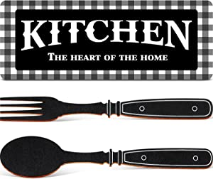 Kitchen Sign Set, Fork and Spoon Wall Decor Kitchen The Heart of The Home Sign Wood Rustic Buffalo Plaid Kitchen Decoration Farmhouse Kitchen Wall Decor for Home Housewarming Kitchen Decor, Black