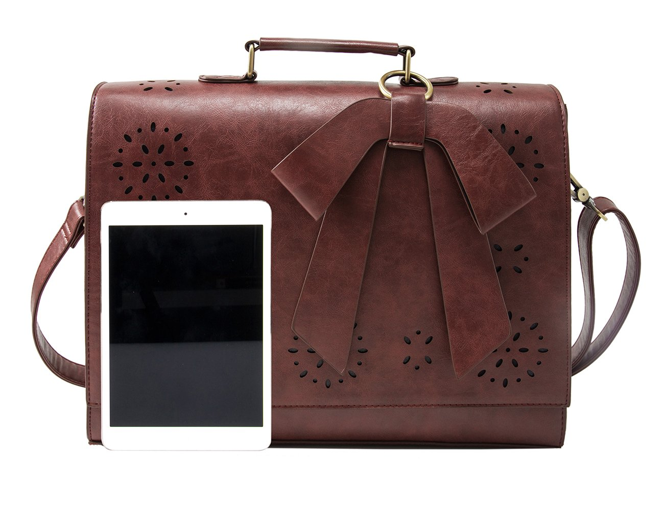 ECOSUSI Ladies PU Leather Laptop Bag Briefcase Crossbody Messenger Bags Satchel Purse Fit 14'' Laptop, Brown by ECOSUSI (Image #8)
