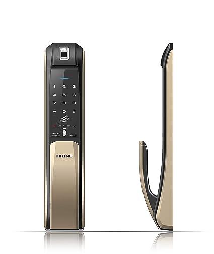 Hioneplus empujar-Halar cerradura de la puerta digital (oro)