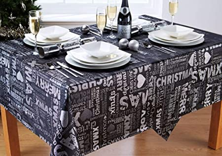 Christmas Table Runner Uk.Xmas Text Black Silver Christmas Table Runner 13x70in 33x178cm Approx