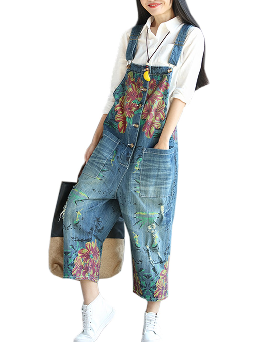 Flygo Women's Loose Floral Printed Distressed Capri Denim Bib Overalls Jumpsuit Rompers with Pockets (One Size, Style 04 Blue)