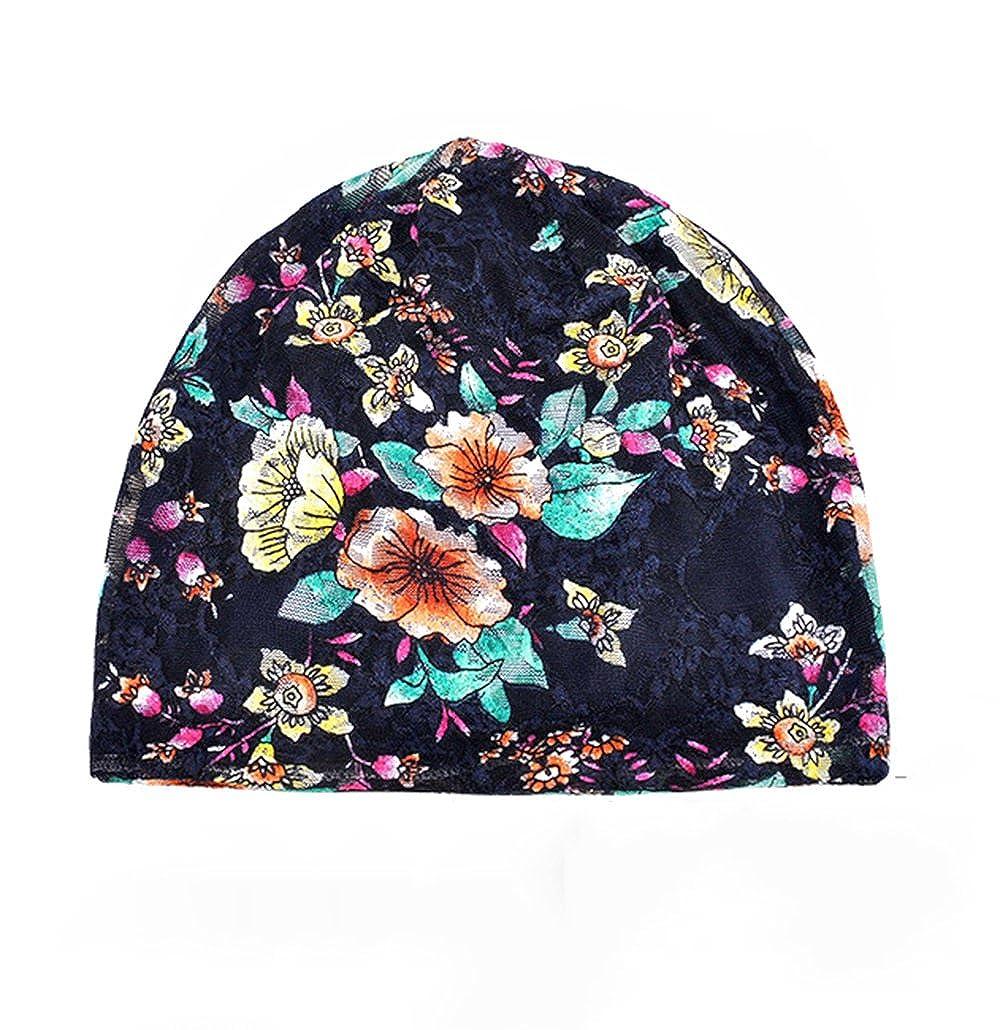 JOOWEN Women/'s Floral Lace cotton Beanie Turban Headwear nightcap Chemo Hat for Cancer Patient