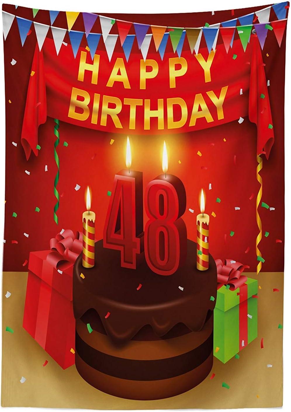 Yeuss 48 cumpleaños cumpleaños Mantel, Presenta Velas de Pastel de Chocolate Fiesta Bandera Artsy diseño de impresión, Decorativo Lavable Mesa de Picnic, Rojo marrón Lima, 60x104 Pulgadas: Amazon.es: Hogar