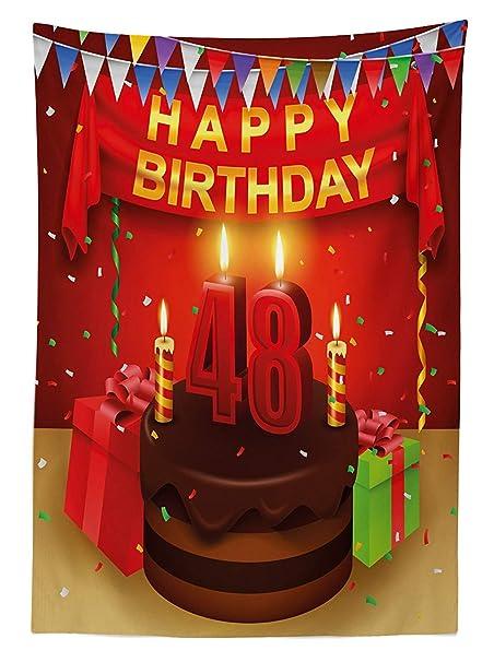 Yeuss 48 cumpleaños cumpleaños Mantel, Presenta Velas de ...