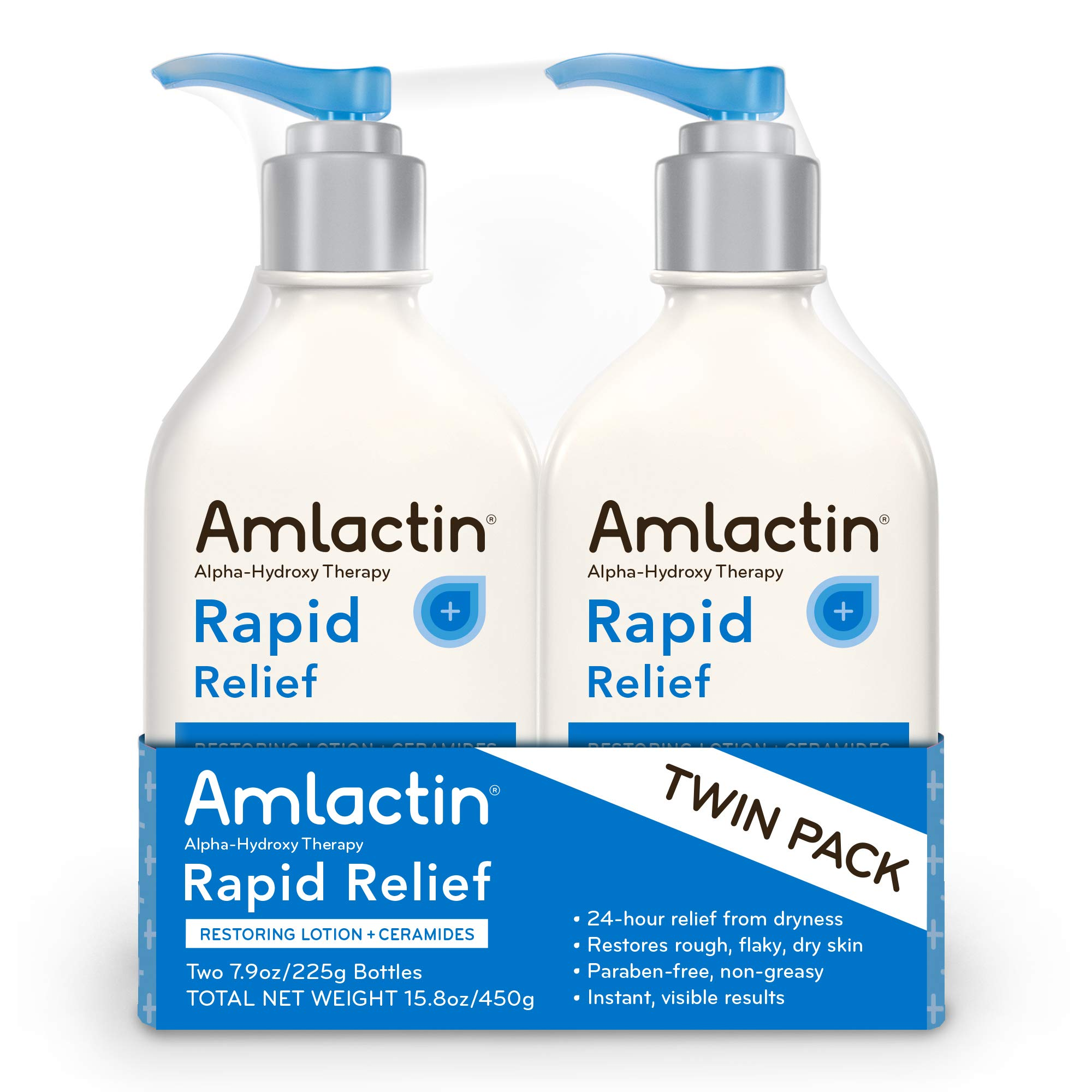 AmLactin Rapid Relief Restoring Lotion + Ceramides | 24-Hr Dryness Relief | Powerful Alpha-Hydroxy Therapy Gently Exfoliates | Lactic Acid (AHA) | Rough Flaky Dry Skin | Twin Pack (2) 7.9 oz. Bottles