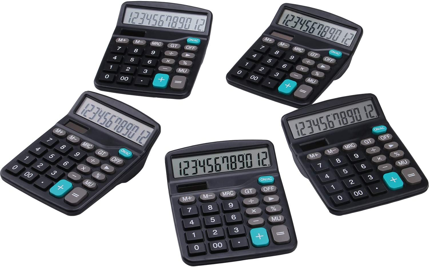 Calculator, Lichamp 5 Pack Calculators Large Display, Black Standard Function Desktop Basic Calculators with Dual Power Solar and AA Battery (Included)
