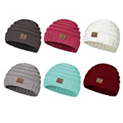 Zando Baby Winter Hats Kids Cable Knit Caps Cozy Warm Cute Infant Toddler Beanies For Boys Girls 6 Pack:Mix Color B