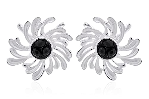 Trendy Baubles Flower Stud Earrings With Black Stone For Women Earrings at amazon