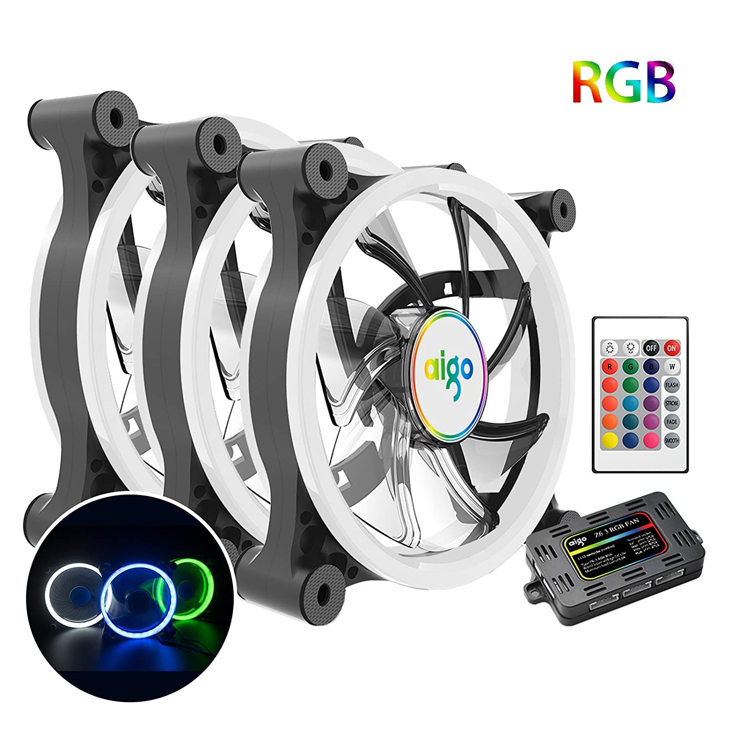 3 Pack 120mm Aigo Computer Case Pc Cooling Fan Rgb Led Quiet High Electric Wiring Kit Adjustable Probe Style Airflow Color Cpu Cooler And Radiator Support Intel Amd Diy Mod Am4