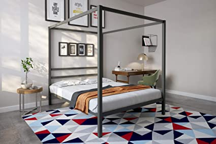 0f6ec78acbc5 Image Unavailable. Image not available for. Color: DHP Modern Canopy Bed  Frame, Classic Design, Queen Size, Grey