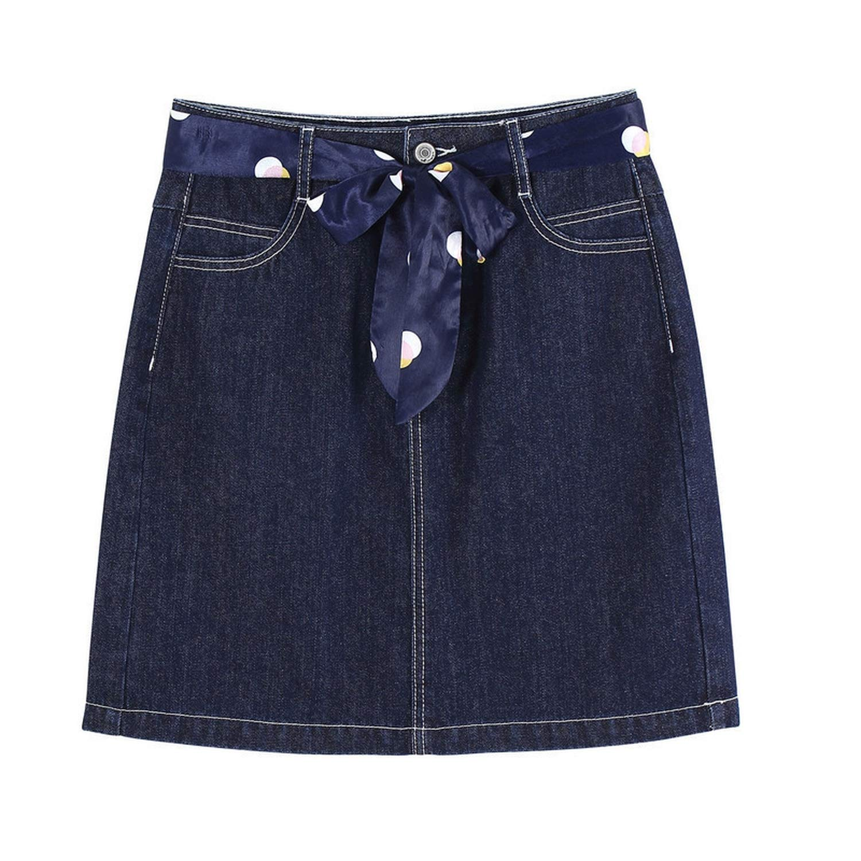 Rather be 2019 Spring High Waist Slim with Belt Retro Korean Fashion Women Cowboy Short Skirt,Navy bluee,S
