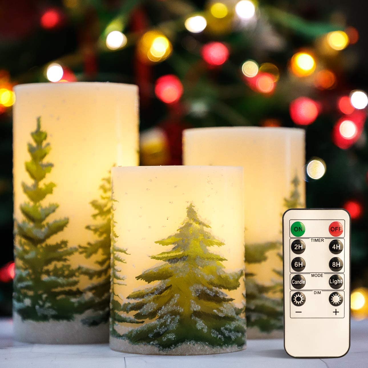 "Christmas Flameless Candles Flicker, D3"" x H4"" 5"" 6"", Silverstro Christmas Tree Printed Real Wax Pillar LED Candles with 10-Key Remote and Timer, Battery Powered Candles for Christmas Home Decoration"