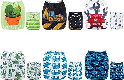 12 inserts Alva Baby Lot de 6 Couches r/éutilisables lavables en tissu