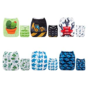 ALVABABY Baby Cloth Diapers 6 Pack with 12 Inserts Adjustable Washable and Reusable Pocket Dipaers Baby Boys 6DM56