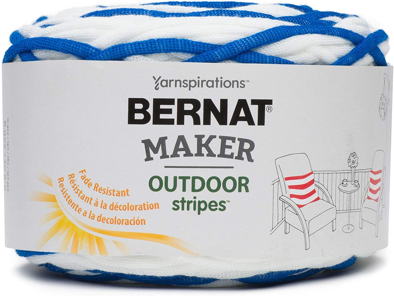 BERNAT Maker Outdoor Stripes -250g- Fresh Royal Blue Stripe