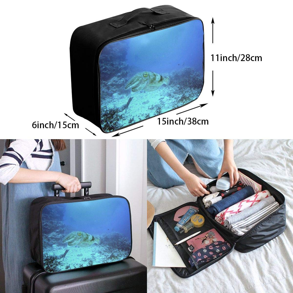 Trout Reef Sea Creature Travel Lightweight Waterproof Foldable Storage Carry Luggage Large Capacity Portable Luggage Bag Duffel Bag