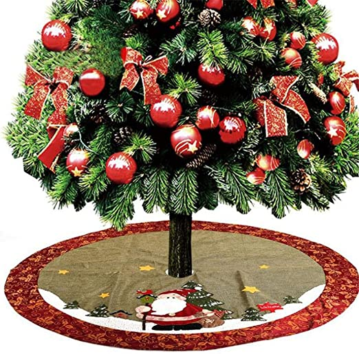 48 Pulgadas Lino Árbol De Navidad Faldas Alfombra Feliz Navidad ...