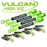 VULCAN Lasso Auto Tie Down with Snap Hooks - 2 Inch x 96 Inch, 4 Pack - High-Viz - 3,300 Pound Safe Working Load