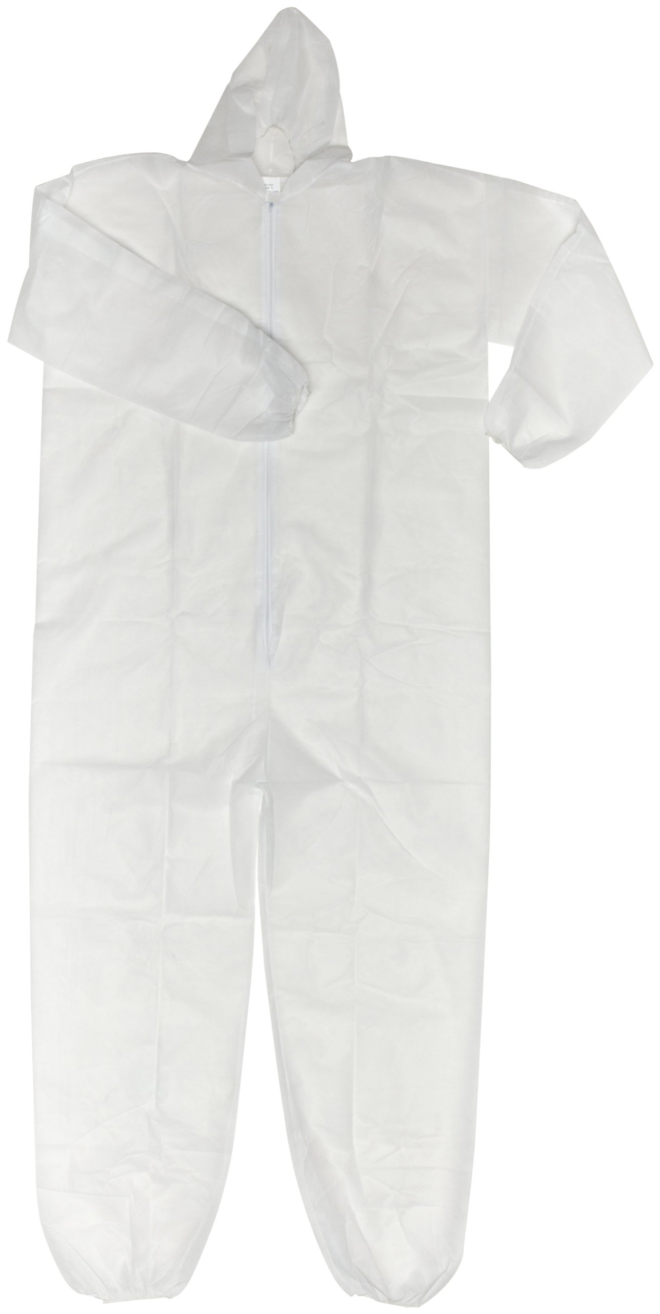 Magid EconoWear Lite N Kool Plus Polypropylene Coverall with Hood, Disposable, Elastic Cuff, White, X-Large (Case of 25)