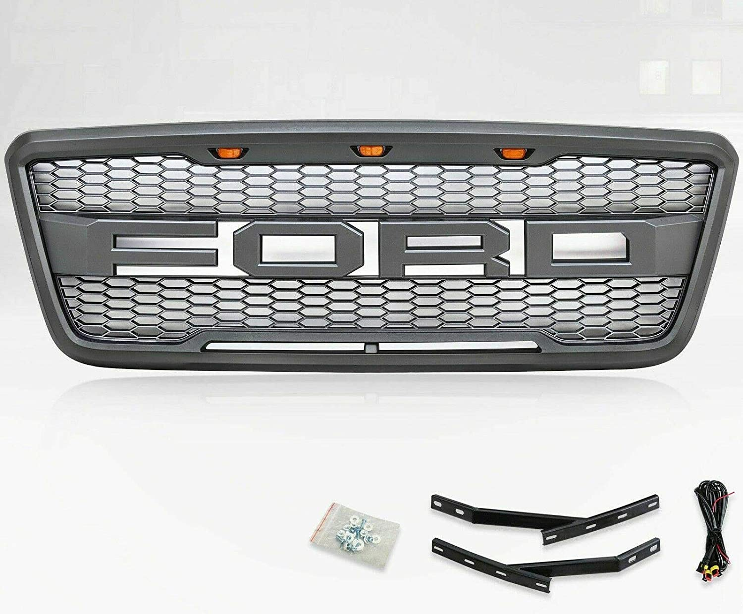 VZ4X4 Front Grill for Ford F150 2004 2005 2006 2007 2008 Raptor Style Grill Gray
