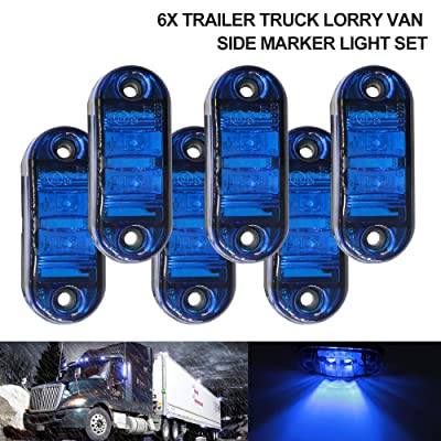 "6Pcs 2.5"" RV Marker Lights, Trailer Truck Led Side Marker Lights, 12V 24V Waterproof 67 Universal Fender Light Boat Marine Led Courtesy Lights Interior Lamps (2.5"", 6 Blue): Automotive"