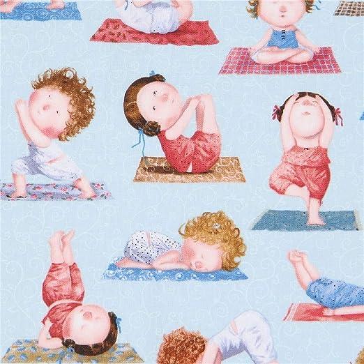 Elizabeths Studio Tela con niños Haciendo Yoga Azul On The ...