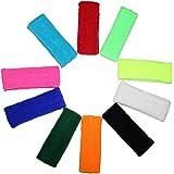Multipack 10 Cintas para la Cabeza por Kurtzy - Cintas para Sudor Deportes para Hombres, Mujeres y Niños - Cintas Elásticas para Deportes, Ciclismo, Gimnasia y Atletismo - Colores Brillantes