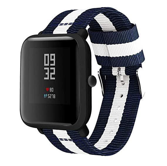 Amazon.com: For Xiaomi Amazfit Bip Band, Lamshaw Fine Woven Nylon Adjustable Replacement Band Sport Strap for Xiaomi Huami Amazfit Bip Younth Watch ...
