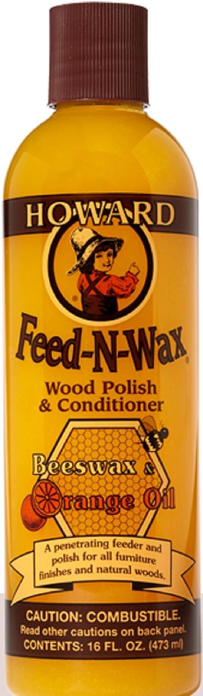 Howard Products FW0016 Feed-N-Wax Wood Polish and Conditioner, Beeswax &, 16 oz, orange, 16 Fl Oz