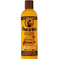 Howard Products FW0016 Feed-N-Wax Wood Polish and Conditioner, Beeswax &, 16 oz, orange, 16 Fl Oz