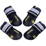QUMY Dog Boots Waterproof Shoes for Large Dogs with Reflective Velcro Rugged Anti-Slip Sole Black 4PCS