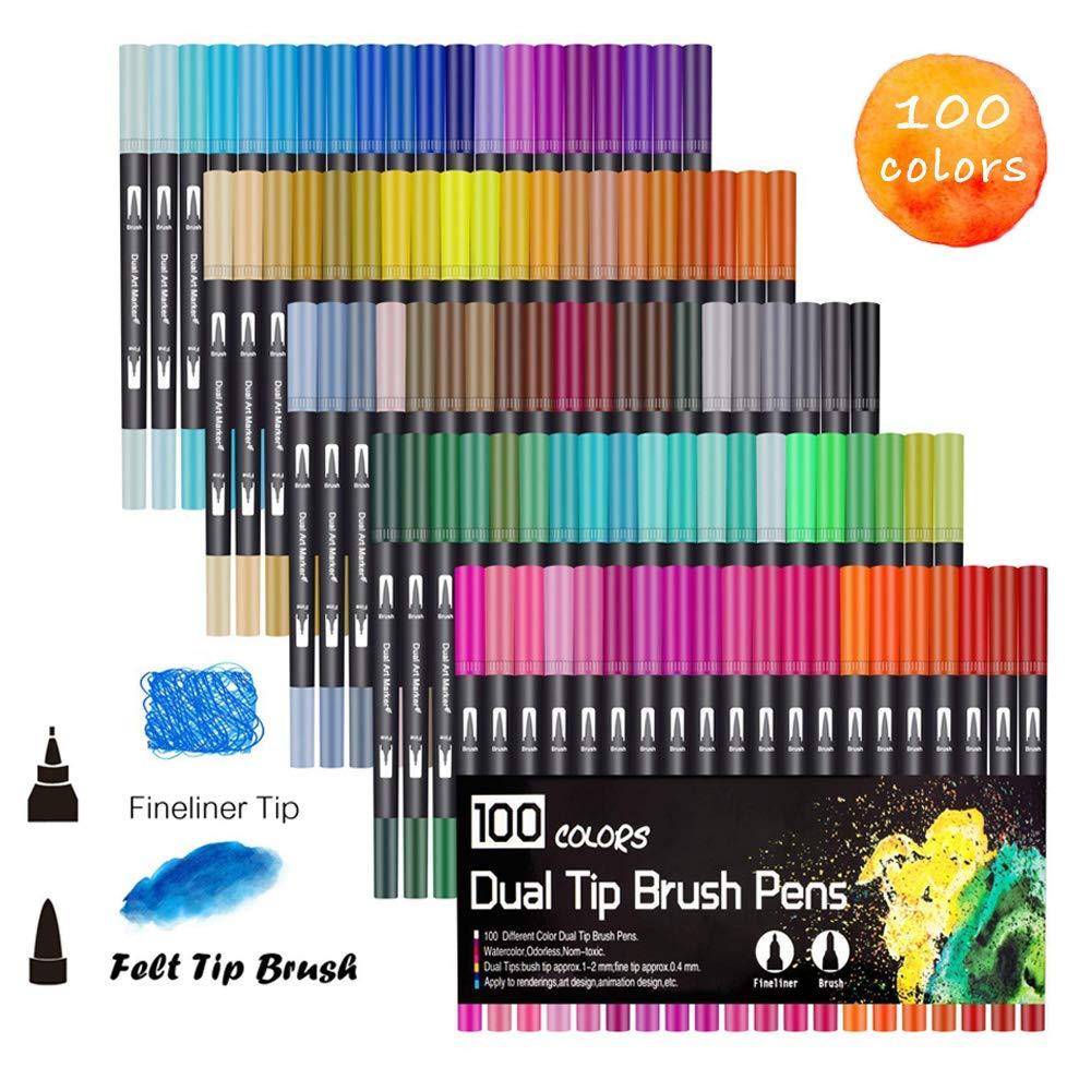 100 rotuladores de punta doble de colores únicos sin olor, punta fina, punta 0,4 y punta de pincel para colorear libros, dibujo, pintura, caligrafía Bullet Journal HO-100 HOHUHU