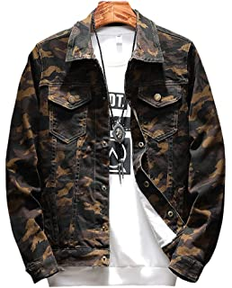 dd82b29351874 LifeHe Mens Camouflage Slim Fit Denim Jacket Jeans Coat at Amazon ...