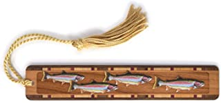product image for Personalized Rainbow Trout, Engraved and Colorized Wooden Bookmark with Tassel - Search B011PIWV2K for Non-Personalized Version