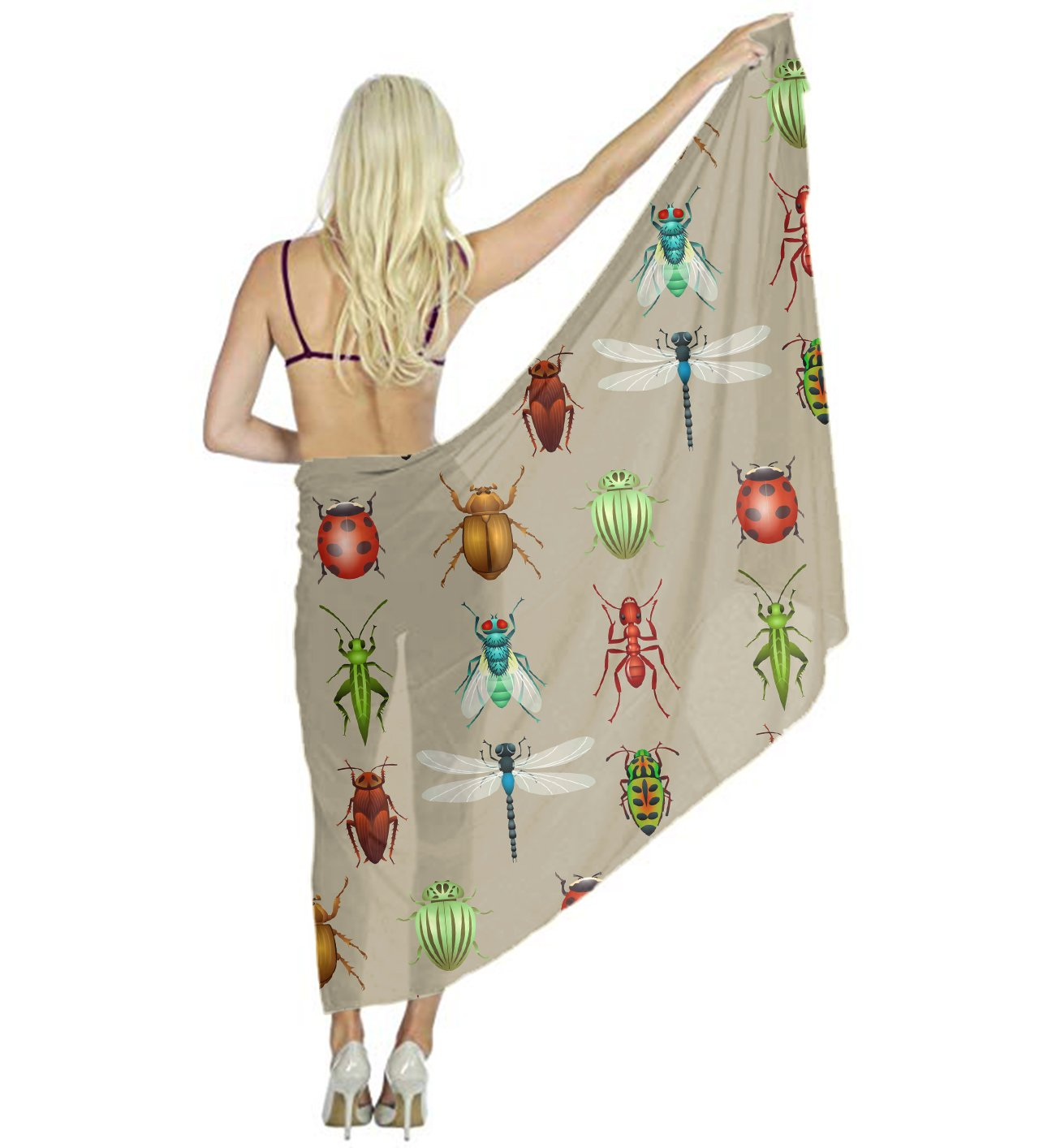 Women Neck Scarf Head Hair Insects Icon Shawl Wraps, 70.9 Inch x 31.5 Inch