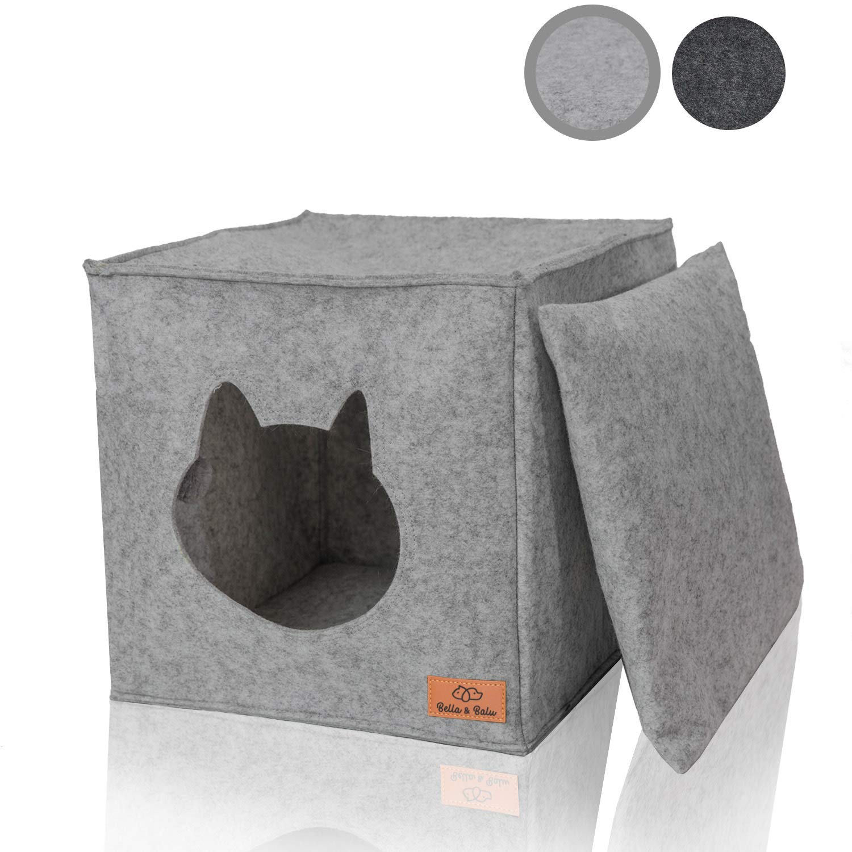 Amazy casa de felpa para gato con almohadas y juguetes | Ideal para Ikea Kallax y Expedit - Guarida de peluche plegable para gatos para que duerman, ...