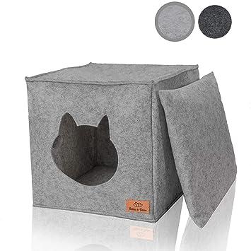 Amazy casa de felpa para gato con almohadas y juguetes | Ideal para Ikea Kallax y