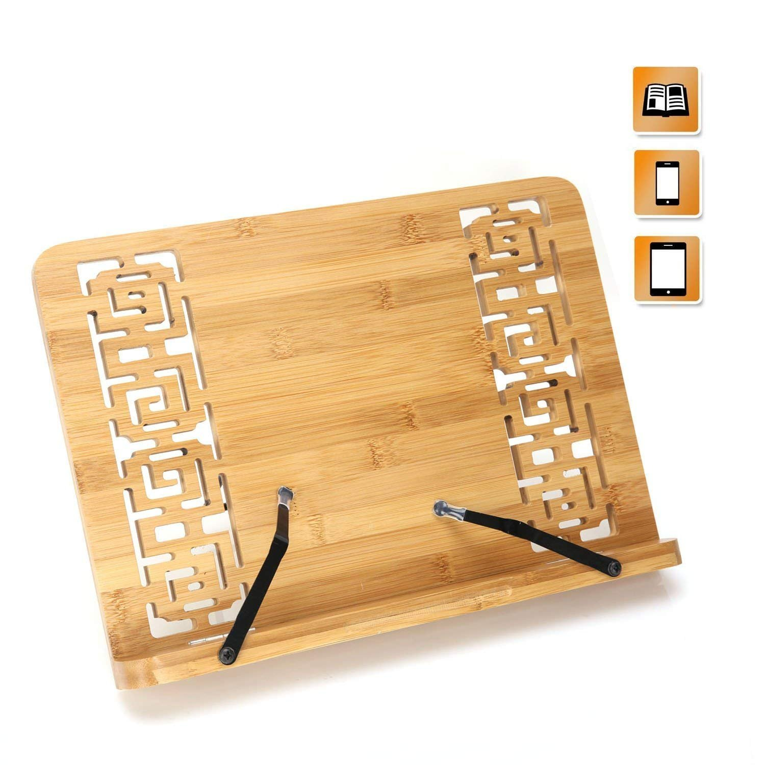 Bamboo Book Stands Cookbook Holder Books Rest Reading Stands Tablet Foldable Tray Page Paper Clips