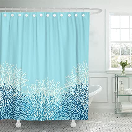 Emvency Shower Curtain Polyester Print 66x72 Inches Blue Ocean Sea Life With Corals White Border Caribbean